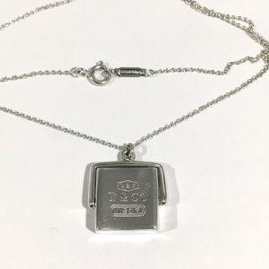 Tiffany & Co Silver Vintage Rare Square Flip Pend